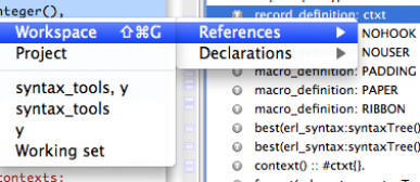 References in workspace command from outline (#ctxt selected)