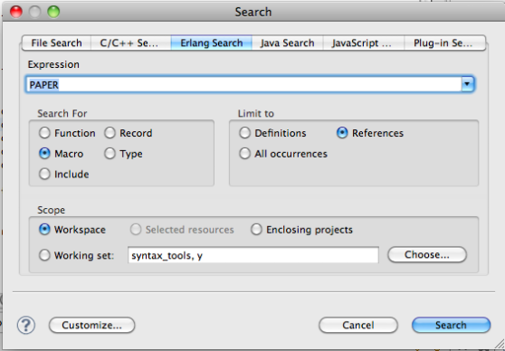 Erlang search dialog